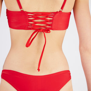 Lucia Red Square Neck Bikini Set