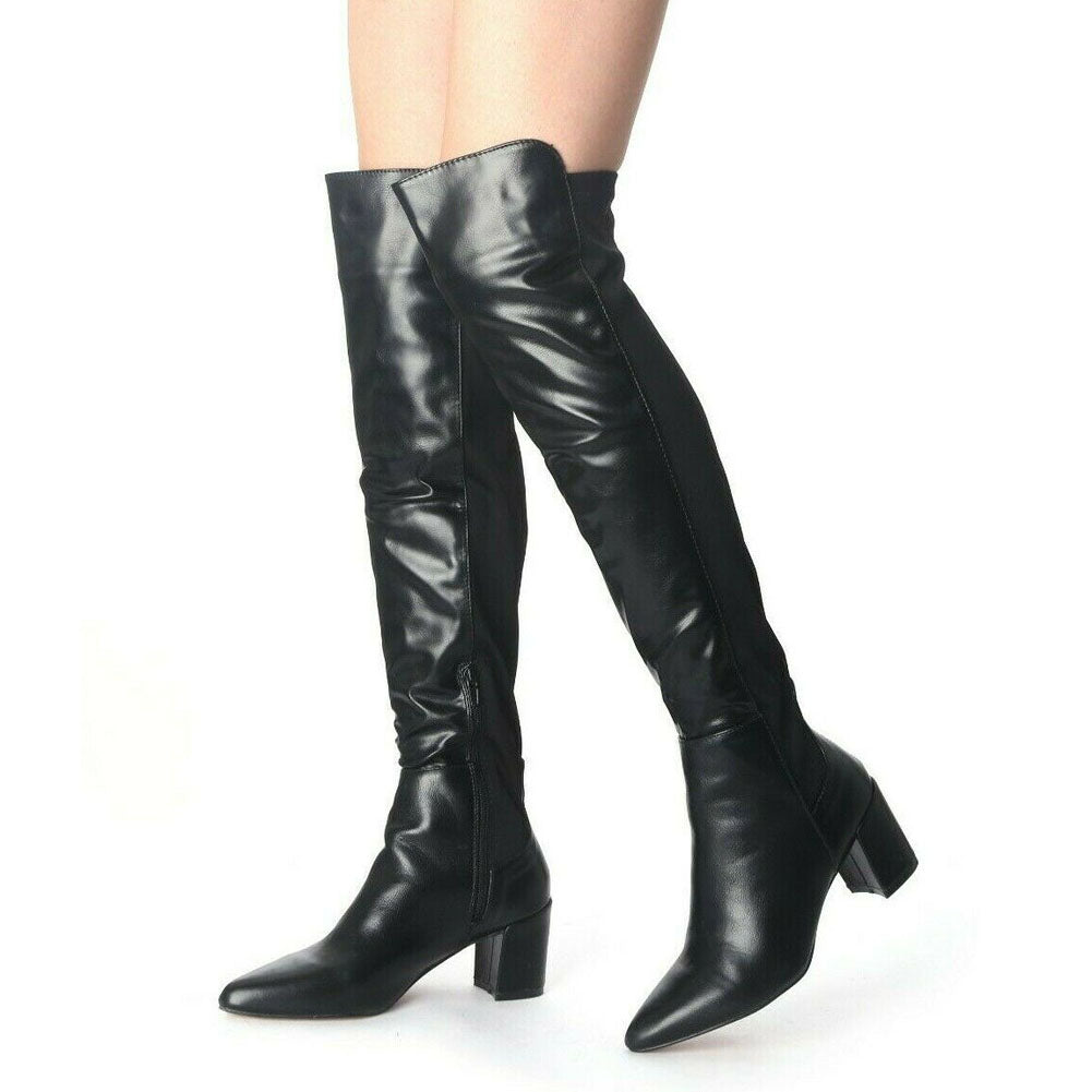 Swifty Black Lycra Back Over Knee High Boots