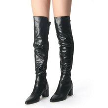 Load image into Gallery viewer, Swifty Black Lycra Back Over Knee High Boots