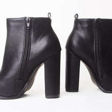 Load image into Gallery viewer, Mabel Black Pointed Heeled Ankle Boots