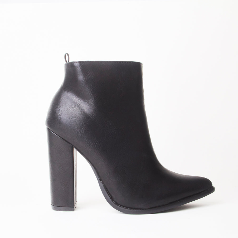 Mabel Black Pointed Heeled Ankle Boots