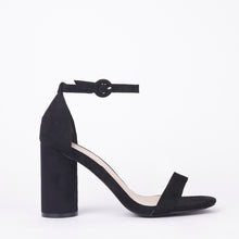 Load image into Gallery viewer, Marie Black Suede Block Heels
