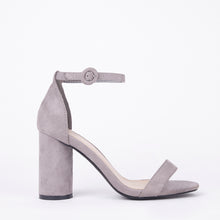 Load image into Gallery viewer, Marie Grey Suede Block Heels