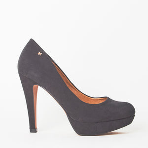 Black Faux Suede Mini Platform High High Stiletto Court Shoes