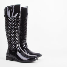 Load image into Gallery viewer, Meg Black Patent Quilted Knee High Boots