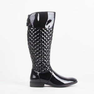 Meg Black Patent Quilted Knee High Boots