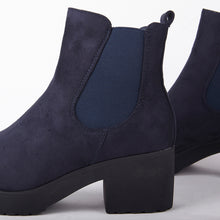 Load image into Gallery viewer, Meghan Blue Faux Suede Chelsea Block Heel Ankle Boots