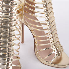 Load image into Gallery viewer, Melissa Gold Strappy Gladiator High Heels