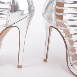 Melissa Silver Strappy Gladiator High Heels