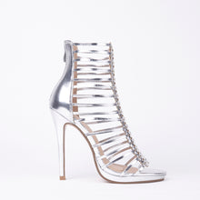 Load image into Gallery viewer, Melissa Silver Strappy Gladiator High Heels