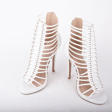 Load image into Gallery viewer, Melissa White Strappy Gladiator High Heels