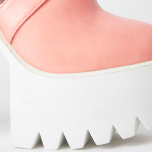 Platform Grip Sole High Heel Pink Cut Out Booties