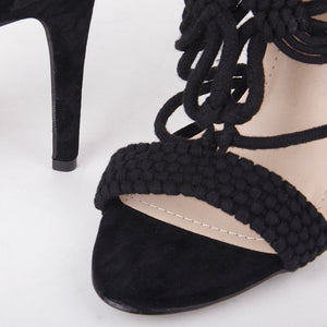 Mia Black Knit High Heels