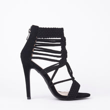 Load image into Gallery viewer, Mia Black Knit High Heels