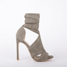 Load image into Gallery viewer, Molly Wrap Around Lace Up High Heels In Khaki