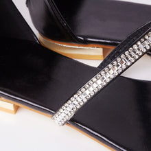 Load image into Gallery viewer, Nina Black Crystal Strap Flat Sandals