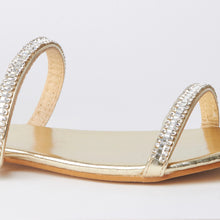 Load image into Gallery viewer, Nina Gold Crystal Strap Flat Sandals