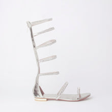 Load image into Gallery viewer, Nina Silver Crystal Strap Flat Sandals