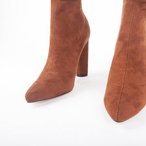 Olivia Tan Suede Ankle Boots
