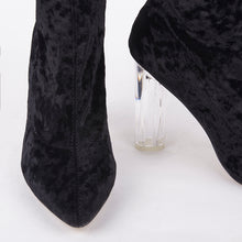 Load image into Gallery viewer, Paige Black Velvet Perspex Heel Ankle Boots