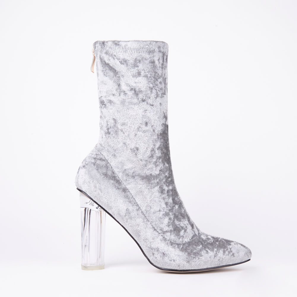 f179e6ee6f6 Paige Grey Velvet Perspex Heel Ankle Boots
