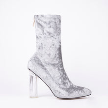 Load image into Gallery viewer, Paige Grey Velvet Perspex Heel Ankle Boots