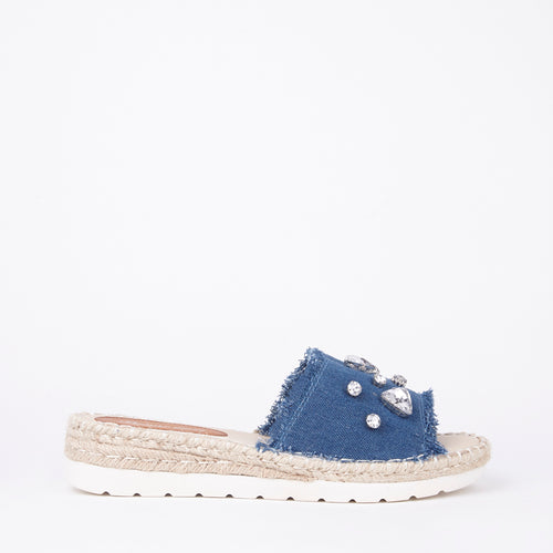 Perrie Blue Distressed Denim Crystal Sliders