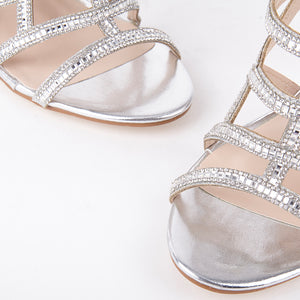 Perrin Silver Crystal Geometric Heeled Sandals