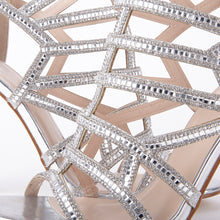 Load image into Gallery viewer, Perrin Silver Crystal Geometric Heeled Sandals