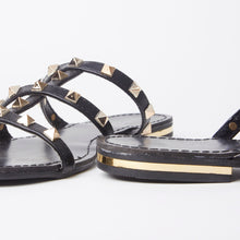Load image into Gallery viewer, Polly Black Studded Mule Sandals With Gold Rockstuds