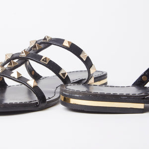 Polly Black Studded Mule Sandals With Gold Rockstuds