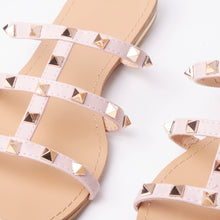 Load image into Gallery viewer, Polly Pink Studded Mule Sandals With Gold Rockstuds
