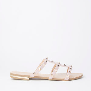Polly Pink Studded Mule Sandals With Gold Rockstuds