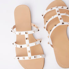 Load image into Gallery viewer, Polly White Studded Mule Sandals With Gold Rockstuds