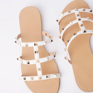 Polly White Studded Mule Sandals With Gold Rockstuds
