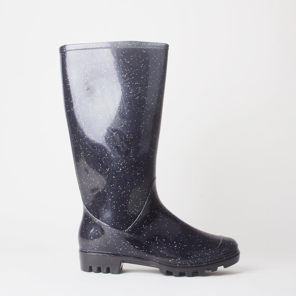 Poppy Black Glitter Wellies