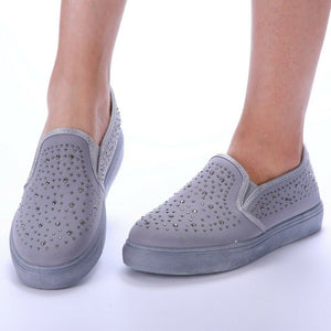 Popsy Diamante Detail Grey Skater Pumps