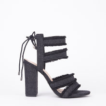 Load image into Gallery viewer, Raine Distressed Denim Block Heel Strappy Lace Up Sandals