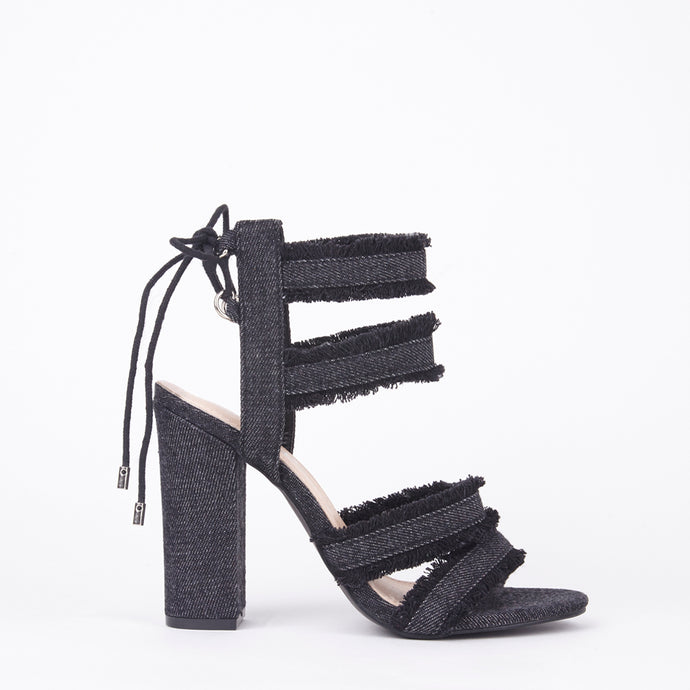 Raine Distressed Denim Block Heel Strappy Lace Up Sandals