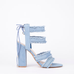 Raine Light Distressed Denim Block Heel Strappy Lace Up Sandals