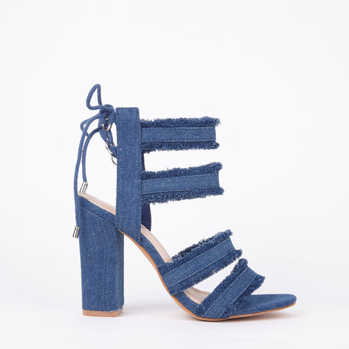 Raine Mid Distressed Denim Block Heel Strappy Lace Up Sandals