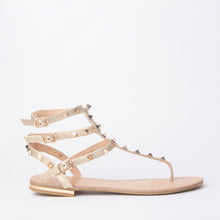 Load image into Gallery viewer, Rita Gold Rockstud Cuff Sandals