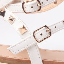 Load image into Gallery viewer, Rita White Rockstud Cuff Sandals