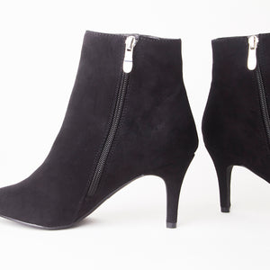 Robyn Black Faux Suede Pointed Toe Mid Heel Ankle Boots