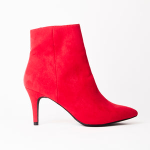 Robyn Red Faux Suede Pointed Toe Mid Heel Ankle Boots
