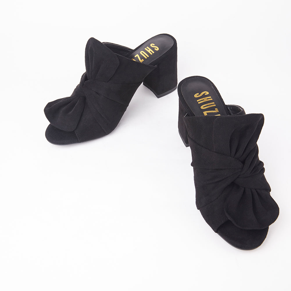 8823997425c Rosanna Black Suede Bow Block Heel Mules Faux Suede Bow Mules Block Heel 3.2    Slip On Mules 3 Colours Available