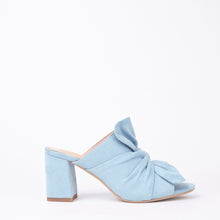 Load image into Gallery viewer, Rosanna Blue Suede Bow Block Heel Mules