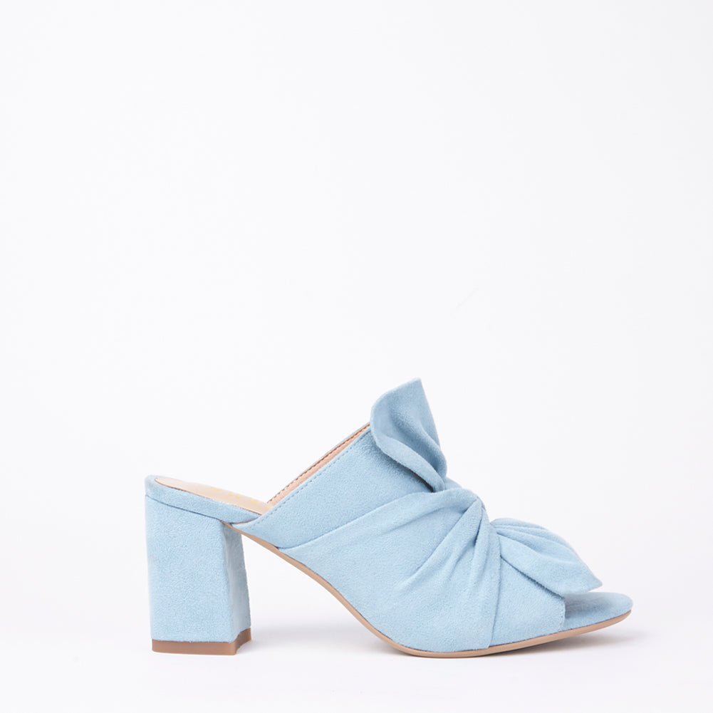Rosanna Blue Suede Bow Block Heel Mules