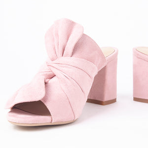 Rosanna Pink Suede Bow Block Heel Mules