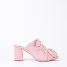 Load image into Gallery viewer, Rosanna Pink Suede Bow Block Heel Mules